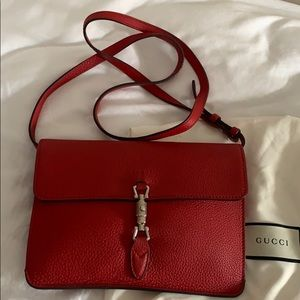 Gucci hibiscus red leather Jackie convertible bag